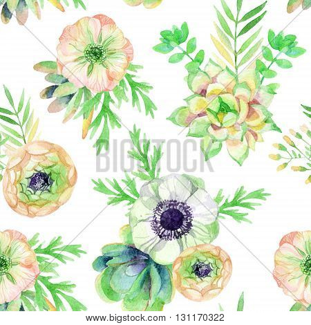 watercolor seamless pattern with anemones succulents and herbs. Hand painted raster illustration on white background