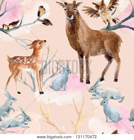 Winter forest seamless pattern. Deer with fawn rabbits birds in winter. Hand painted illustration on pink background