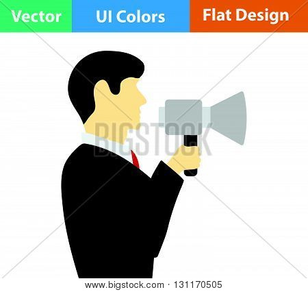 Flat Design Icon Of Man With Mouthpiece