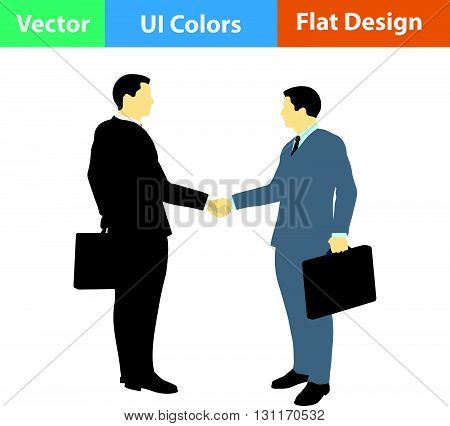 Flat Design Icon Of Meeting Businessmen