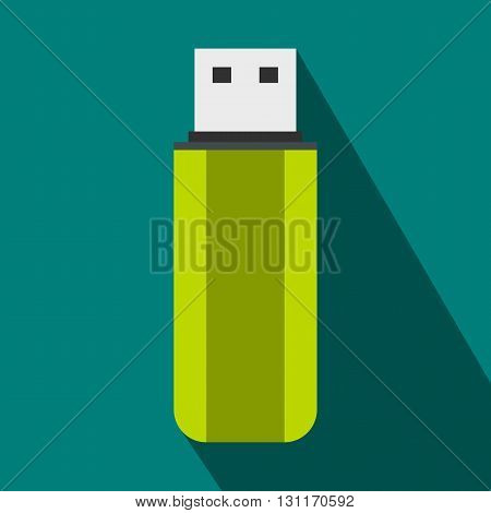 Green USB flash drive icon in flat style on a blue background