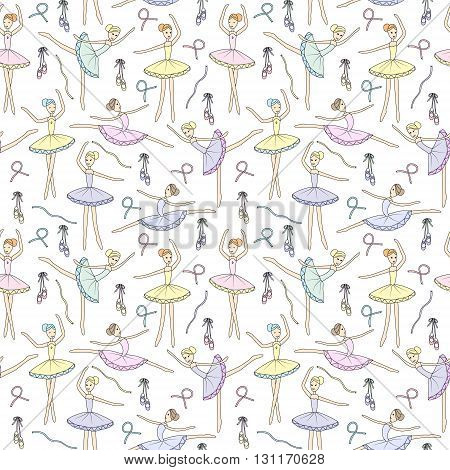 Seamless pattern with dancing ballerinas on a white background. Vector Vector childs drawing ballerinas