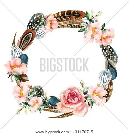 Watercolor wreath with bird feathers and briar flowers isolated on white background. Colorful feathers and pink dog-roses wreath. Hand painted watercolor illustration with floral and boho elements.
