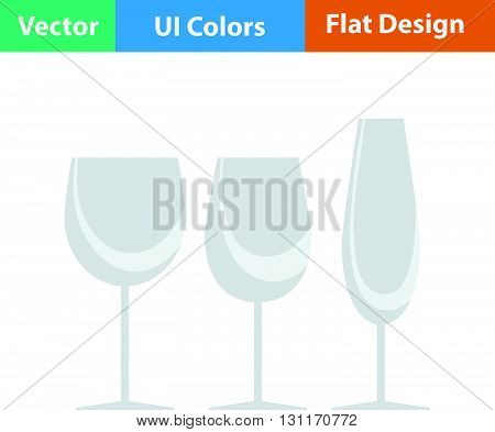 Glasses set icon. Vector illustration. Flat design ui.