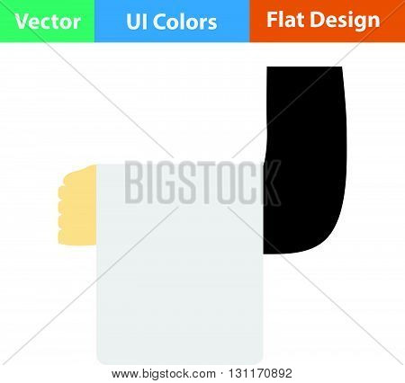Waiter hand with towel icon. Vector illustration.