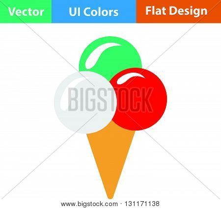 Ice-cream cone icon. Vector illustration. Flat design ui.