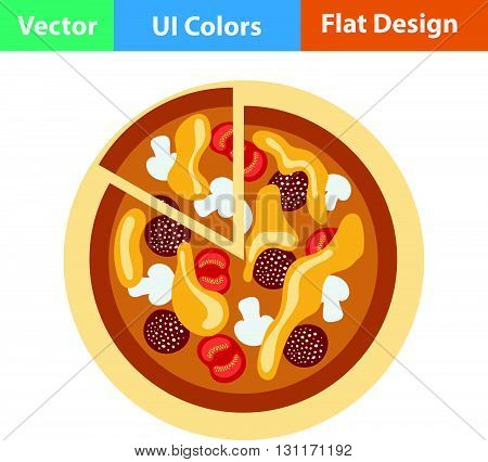 Pizza on plate icon. Vector illustration. Flat design ui.
