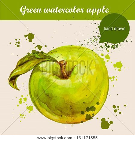 Vector watercolor hand drawn green apple with leaf and watercolor drops. Organic food illustration.