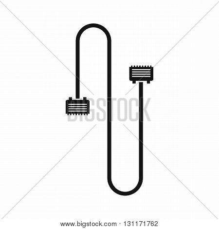 Cable wire computer icon in simple style on a white background
