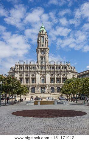 PORTO, PORTUGAL - APRIL 21, 2016: Town hall in the center of Porto, Portugal