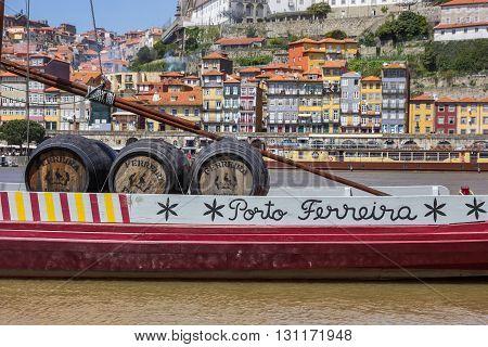 PORTO, PORTUGAL - APRIL 21, 2016: Port wine barrels on a ship in Porto, Portugal