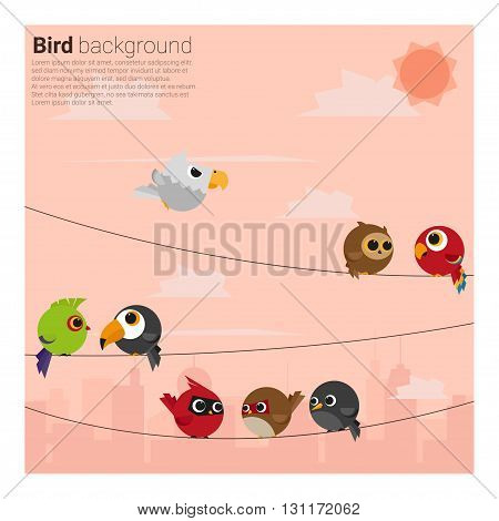 birds on wires background , vector, illustration