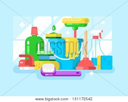 Cleaning tools and detergent. Sponge and spray, housework and sanitary. Vector illustration