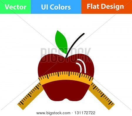 Flat Design Icon Of Apple With Measure Tape