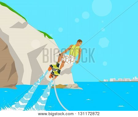 Man extreme fun water sports in the sea near the resort. Vector illustration