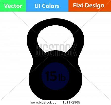 Kettlebell icon. Vector illustration. Flat design ui.