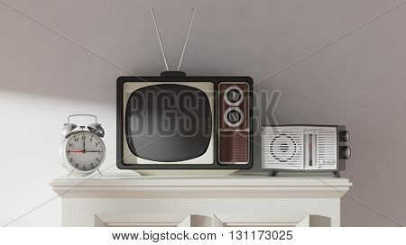 Antique TV set, alarm clock and radio on cabinet, home interior. 3D rendering