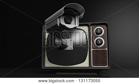 Antique TV set with surveillance camera on screen, on black background. 3D rendering