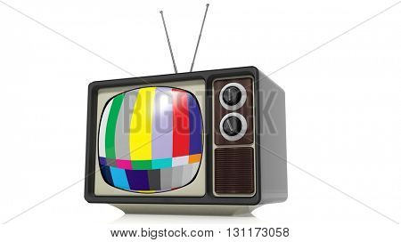 Antique TV set with color bars, isolated on white background. 3D rendering