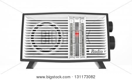 Antique radio transistor, isolated on white background.3D rendering