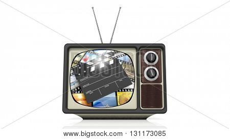Antique TV set with film clap on screen, isolated on white background. 3D rendering