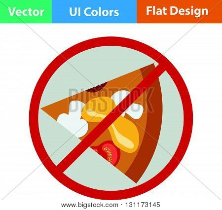 Prohibited pizza icon. Vector illustration. Flat design.