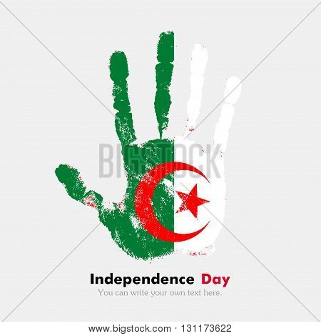 Hand print, which bears the Algeria flag. Independence Day. Grunge style. Grungy hand print with the flag. Hand print and five fingers. Used as an icon, card, greeting, printed materials.