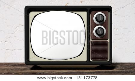 Antique TV set with blank screen on wooden surface. 3D rendering