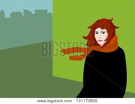 pop art red-haired girl in black coat and red scarf standing in the wind near a wall in an urban landscape