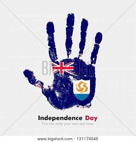 Hand print, which bears the Anguilla flag. Independence Day. Grunge style. Grungy hand print with the flag. Hand print and five fingers. Used as an icon, card, greeting, printed materials.