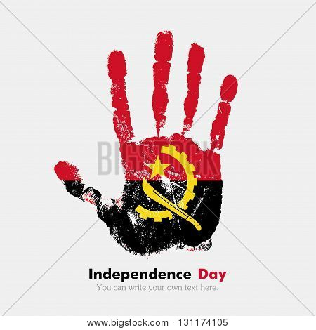 Hand print, which bears the flag of Angola. Independence Day. Grunge style. Grungy hand print with the flag. Hand print and five fingers. Used as an icon, card, greeting, printed materials.