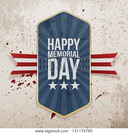 Happy Memorial Day festive Label and Ribbon. National American Holiday Background Template. Vector Illustration.