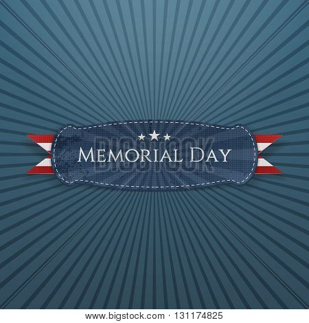 Memorial Day festive Banner and Ribbon. National American Holiday Background Template. Vector Illustration.