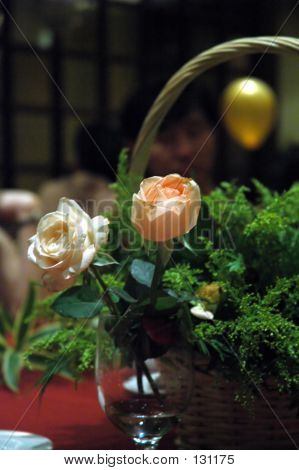 Floral Arrangement At A Wedding Dinner Table