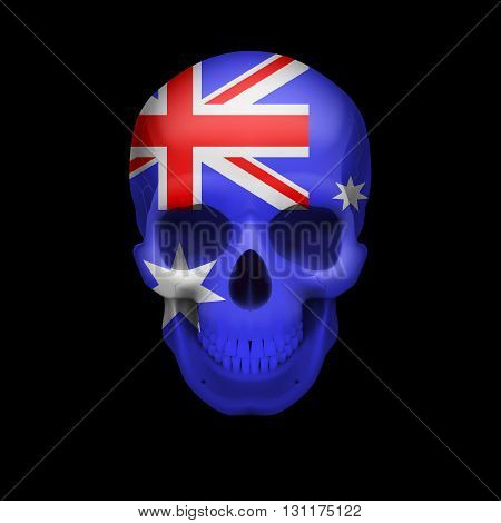 Human skull with flag of Australia. Threat to national security war or dying out