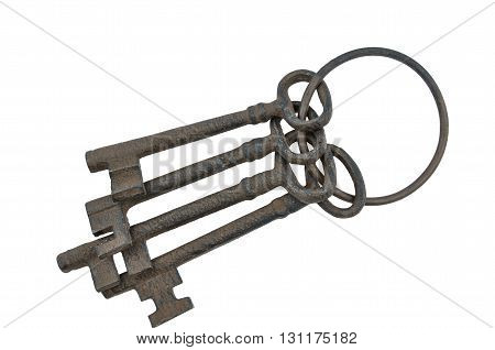 Long view of set antique victorian keys.