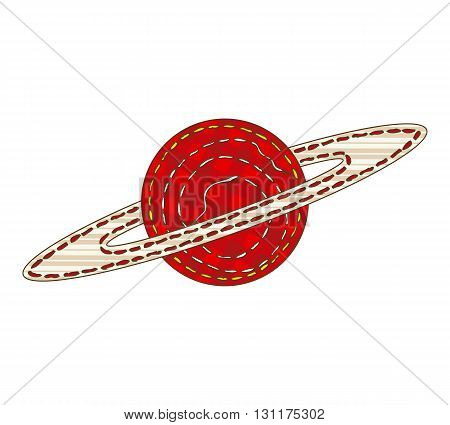 Planet Saturn in Patchwork Style. Isolated on a White Background