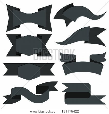 collection of black label banners, black ribbons