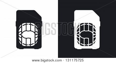 Vector SIM card icon. Two-tone version on black and white background