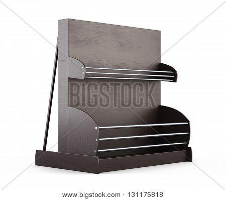 Wooden shelves for supermarket on a white background. Shelves for bread. Rack for baking. 3d render image