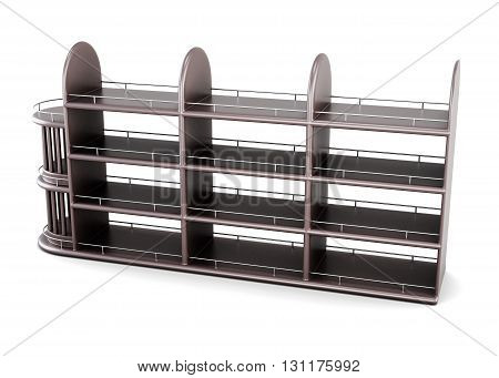 Shelving for bottles isolated on white background. 3d rendering.