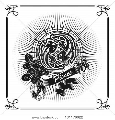 vector illustration zodiac sign Pisces emblem vintage frame with feathers black and white