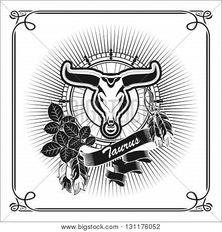 vector illustration zodiac sign Taurus emblem vintage frame with feathers black and white