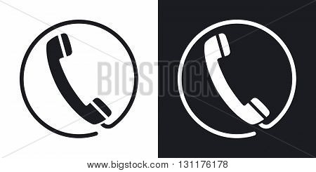 Vector telephone receiver icon. Two-tone version on black and white background