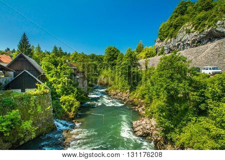 Canyon of Korana river and beautiful village of Rastoke near Slunj in Croatia, old water mills on waterfalls