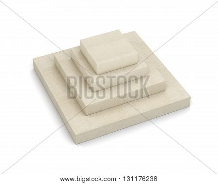 Box in the shape of a pyramid isolated on a white background. Stack of cardboard boxes. Closed boxes. 3d rendering
