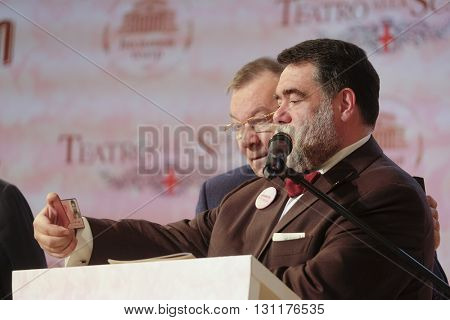 Moscow, Russia - May, 23, 2016: businessman Mikhail Kusnirovich on the press conference devoted to tours of the La Scala theater in Moscow. Kusnirovich is a sponsor of the tours