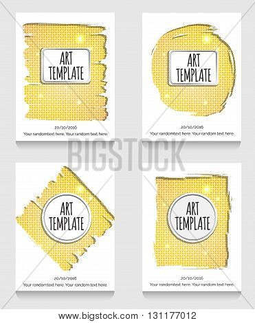 Modern eclectic flyer, poster, card template with golden background. Vintage dotted shadows, glamourous shiny golden caged background, minimalistic framing and casual text.