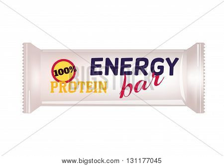 White Blank Food Packaging For Biscuit Wafer Crackers Sweets Chocolate Bar Candy Bar Snacks . Protein Bar Design Template. Isolated On White Background. Package Mock-up.