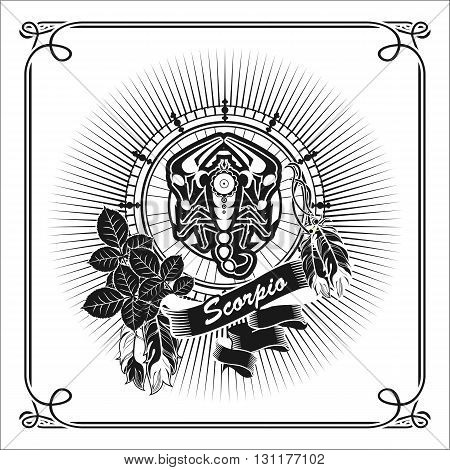 vector illustration zodiac sign Scorpio emblem vintage frame with feathers black and white